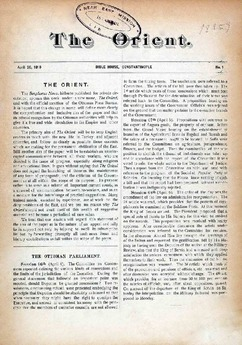 The first page of The Orient, volume 1, issue 1, 20 April 1910.
